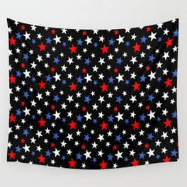 Bold Patriotic Stars In Red White and Blue on Black Wall Tapestry