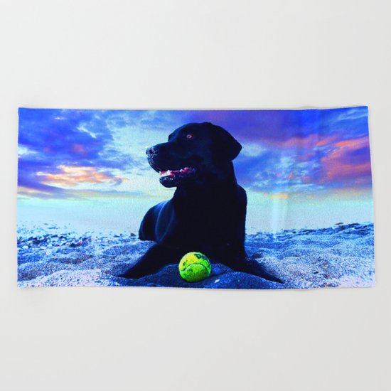 Ziggy Black Labrador Beach Towel