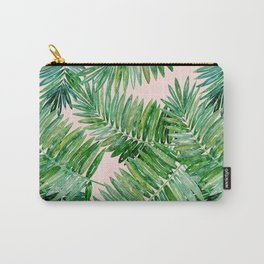 Green palm leaves on a light pink background. Carry-All Pouch