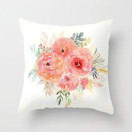 Pink Flower Bouquet Throw Pillow