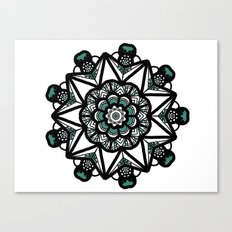 Turquoise & white mandala Canvas Print