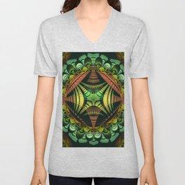 Tribal patterns mandala with fisheye effect Unisex V-Neck