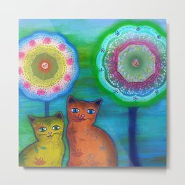 Cats and Trees Metal Print