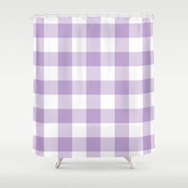 Lavender Gingham Pattern Shower Curtain