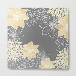 Floral Prints and Line Art, Yellow and Gray Metal Print