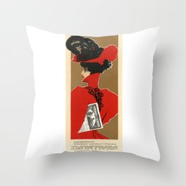 Belle Epoque vintage poster, Zlata Praha Throw Pillow