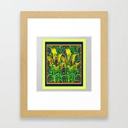 GREEN ART DECO YELLOW CALLA LILIES ART Framed Art Print