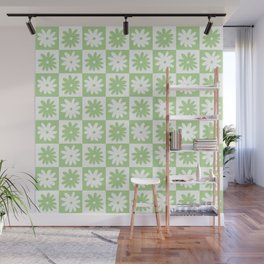 Green And White Checkered Flower Pattern Wall Mural