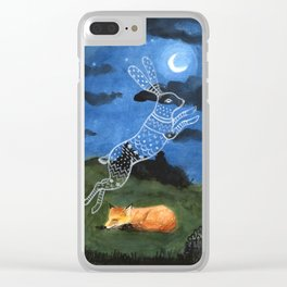 Fox Dreaming of rabbit, ghost, starry night, moonlight Clear iPhone Case