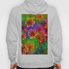 Tropical Heat-Colorful Floral Exotic Tropical Flower Pattern Hoody