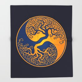 Blue and Yellow Tree of Life Yin Yang Throw Blanket