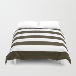 Olive Drab #7 - solid color - white stripes pattern Duvet Cover