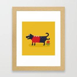Cute Dog Pissing Illustration Framed Art Print