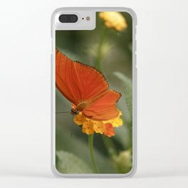 Orange-colored Butterfly Clear iPhone Case