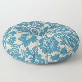 Retro Leaves on a Blue  Background Pattern cutest Floor Pillow