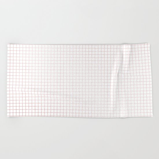 Simply Grid Lines in Rose Gold Sunset Beach Towel