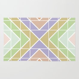 Modern Pastel Geometric Squares and Triangles Rug