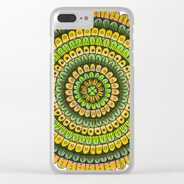 Lucky Shamrock Green and Gold Mandala Colored Pencil Illustration by Imaginarium Creative Studios Clear iPhone Case