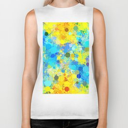 psychedelic geometric circle pattern and square pattern abstract in yellow and blue Biker Tank