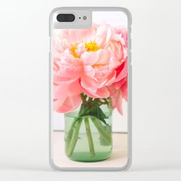 peonies 06 Clear iPhone Case