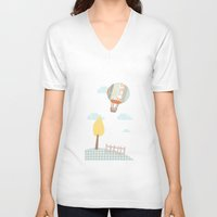 baloon V-neck T-shirts featuring baloon collage by flying bathtub