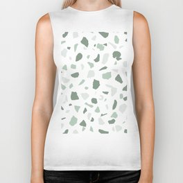 abstract terrazzo stone pattern sage green white Biker Tank