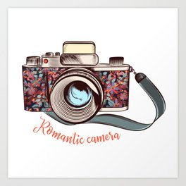 Beautiful pretty gurlish camera with flowers Art Print