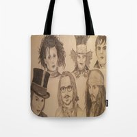 johnny depp Tote Bags featuring Johnny Depp by Virginieferreux