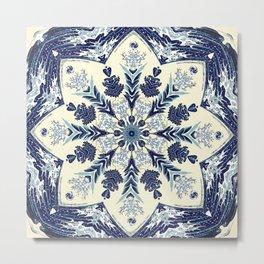 Deconstructed Waves Mandala Metal Print