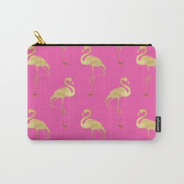 Gold Flamingo on Pink Carry-All Pouch