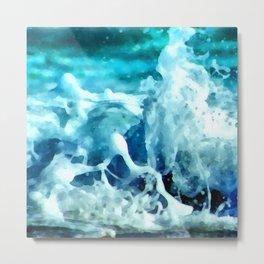 Sea Splash Watercolor Metal Print