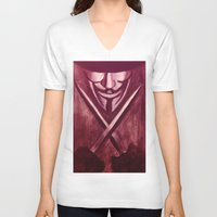 vendetta V-neck T-shirts featuring RED for VENDETTA by The Traveling Catburys