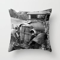 truck Throw Pillows featuring Old Truck by WhyitsmeDesign