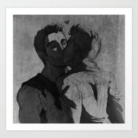 sterek Art Prints featuring Sterek kiss by littlecofiegirl