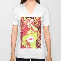 candy V-neck T-shirts featuring Candy by Verismaya
