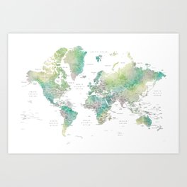 Watercolor world map in muted green and brown, with country capitals Art Print