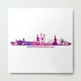 Cracow skyline city purple Metal Print