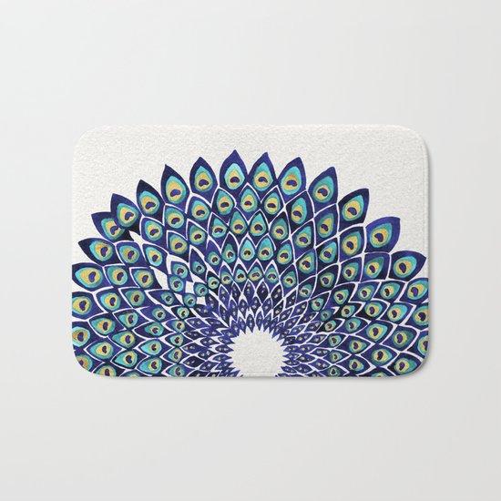 Peacock Mandala – Navy & Gold Bath Mat