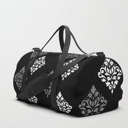 Scroll Damask Art I Black Grey White Duffle Bag