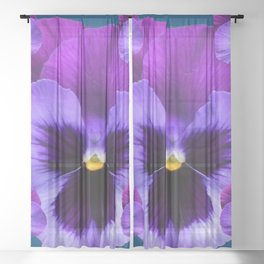 PURPLE PANSIES ON TEAL COLOR Sheer Curtain