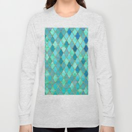 Aqua Teal Mint and Gold Oriental Moroccan Tile pattern Long Sleeve T-shirt