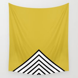 MUSTARD BLACK AND WHITE STRIPES Wall Tapestry