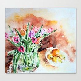 Tulips and lemons Canvas Print