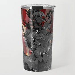 Flowers in Front of Flag (Black and White with Color) Travel Mug