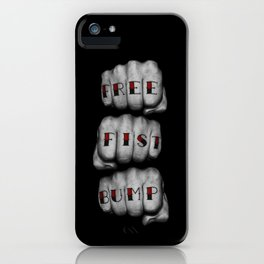 FREE FIST BUMP / Photograph of grungy fists with tattooed knuckles iPhone Case
