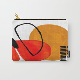 Mid Century Modern Abstract Vintage Pop Art Space Age Pattern Orange Yellow Black Orbit Accent Carry-All Pouch