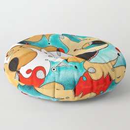 Abstract Tea Critters Floor Pillow
