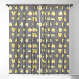 Sweet Lemon frog - dark Sheer Curtain