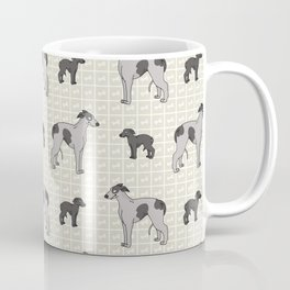 Hand drawn cute greyhouse race dog and puppy. Coffee Mug