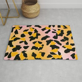 Painted Leopard Skin with Pink/Yellow Tint Background #decor #society6 #buyart Rug